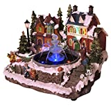 LED Snowy Christmas Village with Working Fountain, Lights and Animated Tree