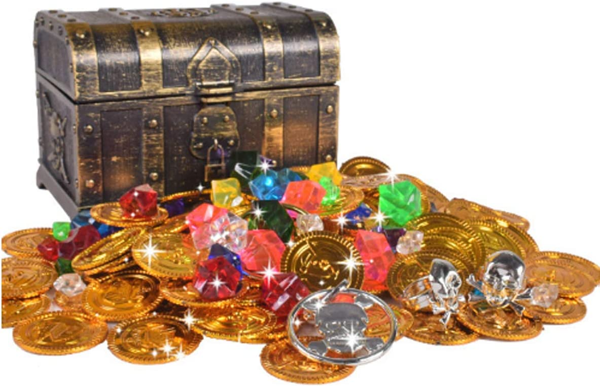 Monedas de Juguete Pirata Niños de Halloween Moneda Fiesta Piratas Plástico del Tesoro Oro para la Caza Juego Decoración Partido Regalo Cofre del Tesoro