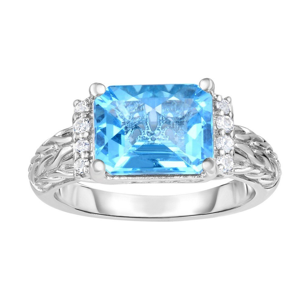 Sterling Silver 9-3mm 10x8mm Oct Lt Swiss Blue Topaz 1.5mm White Sapphireer Top - Size 7 Ring