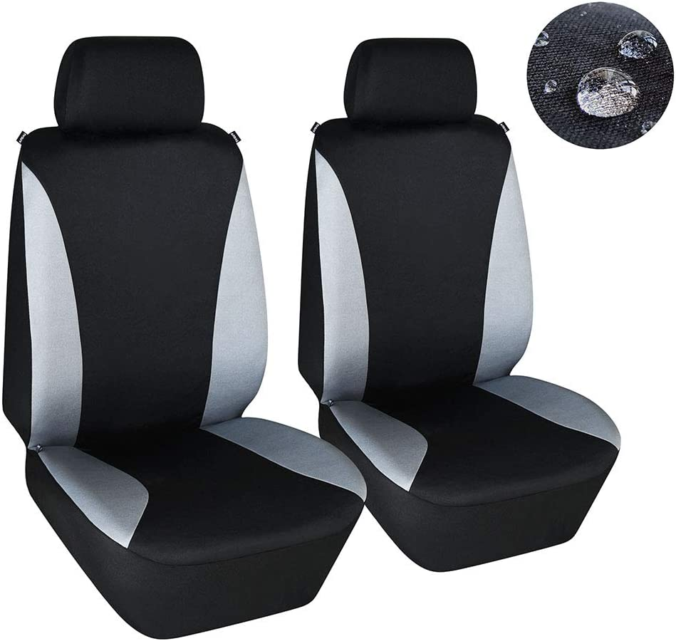 Elantrip PU Leather Front Seat Covers Car Bucket Seat Cover Universal Fit Airbag Armrest Compatible for Auto SUV Truck Van Black 2 PC