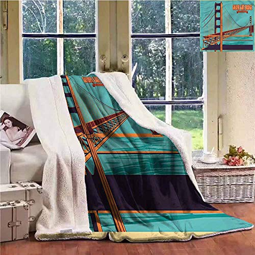 Sunnyhome Baby Blanket Vintage Golden Gate Bridge in USA Blanket for Family and Friends W59x31L
