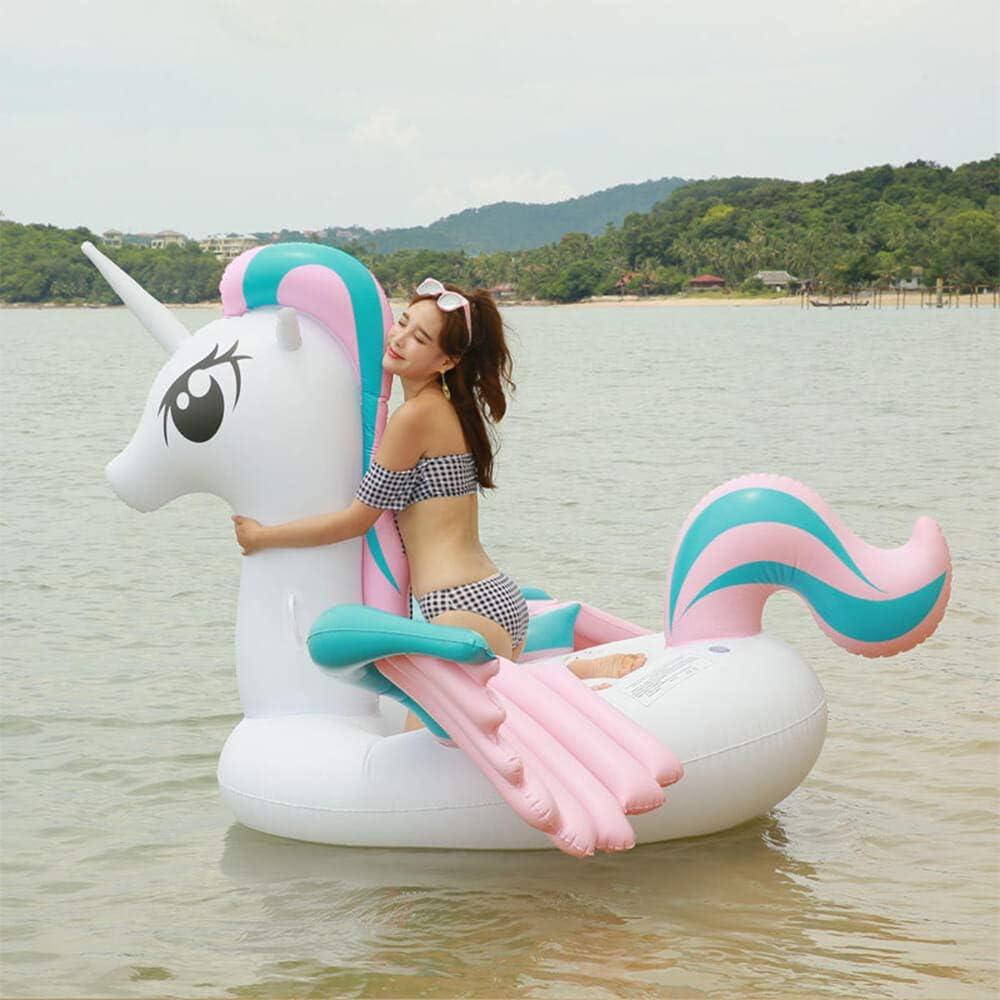 Warmwin Juguete de Piscina Inflable Enorme Anillo de natación de Verano salón Flotante diversión Isla Juguete de Playa de natación Inflable de Animales Grandes flamingo-265x220x160cm