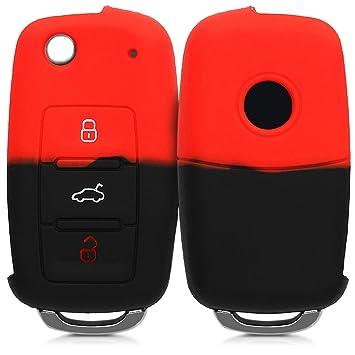 kwmobile Funda para Llave de 3 Botones para Coche VW Skoda Seat - Carcasa Protectora [Suave] de [Silicona] - Case de Mando de Auto con diseño Bicolor