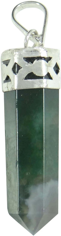 Harmonize la ágata de Musgo Verde en 6 Caras Varita Colgante Lápiz curativo de Piedra Piedra Preciosa de la curación Espiritual