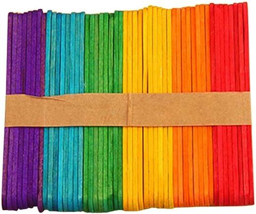 Espeedy Palos de Helado,50pcs DIY Color Helado palitos de Madera ...