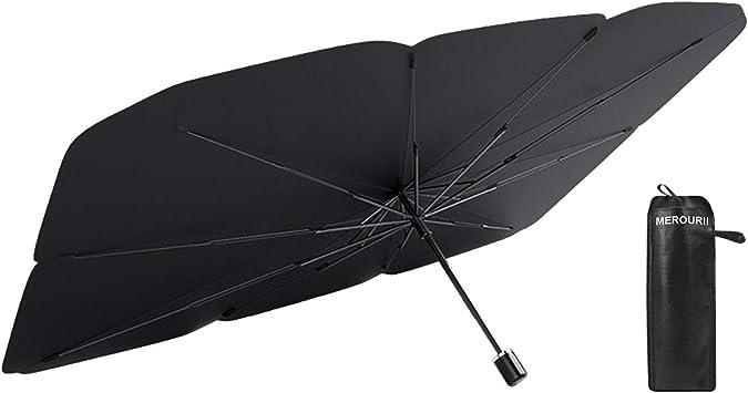 Merourii Auto Sonnenschirm Für Frontscheibe Faltbarer Frontscheibe Uv Schutz Regenschirm Sonnenschirm Universal 142 79cm Für Die Meisten Autos Suvs Und Lkws Auto
