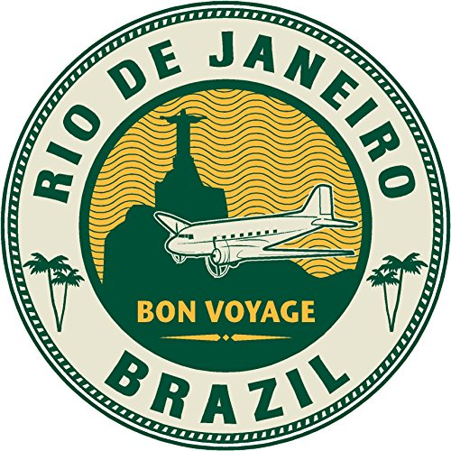 Oval brazil rio de janeiro airplane 4x4 sticker decal die cut vinyl - Made and Shipped in (Brazil Airplane)