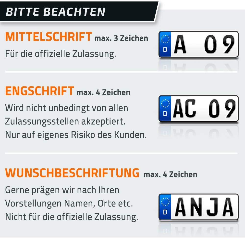 schildEVO 2 Kfz Kennzeichen kurzes Autokennzeichen PKW Nummernschild DIN-Zertifiziert DHL-Versand Fahrradtr/äger /& Anh/änger Auto-Schild individuelles EU Wunschkennzeichen 320 x 110 mm