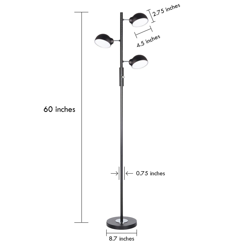 Floor Lamp, SUNLLIPE 3 Lights LED Reading Floor Lamp 15W Modern Tall Pole Standing Dimmable & Adjustable Omnidirectional Energy Saving Tree Lamp for Bedroom, Living Room, Office (Jet Black) by sunllipe (Image #3)