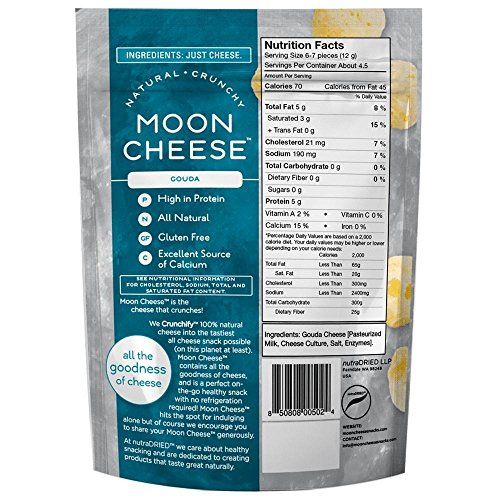 Moon Cheese, Pack of Twelve, Assortment (Cheddar, Gouda, Pepperjack, Mozzarella), 100% Cheese and Gluten Free, 2 OZ Bags by Moon Cheese (Image #1)