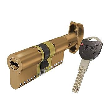Tesa Assa Abloy TK1B3040L, Cilindro de Alta Seguridad, TK100, Doble Embrague, Leva Larga, Latonado, 30 x 40 mm