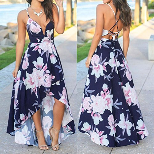 Print Neck Maxi Women's Dress Sexy Split V Floral Dress Backless Sleeveless Dress Summer Navy Beach Deep Aimik Party OxpwPYq