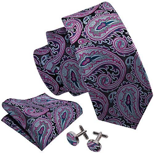Barry.Wang Paisley Ties for Men Set Pocket Square Cufflinks Pink Grey