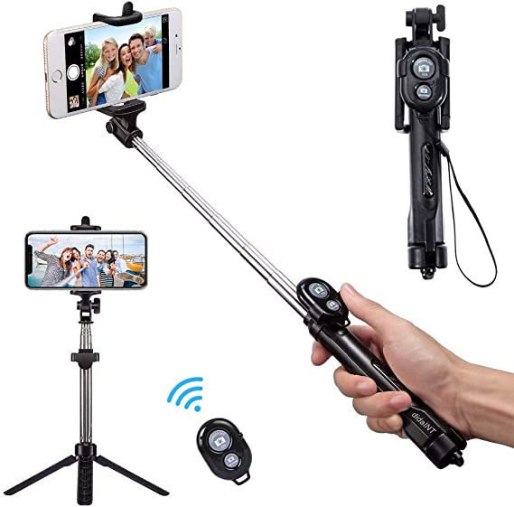 Black Mini Foldable Extendable 360/° Rotation Bluetooth Selfie Stick with Remote Control and Tripod Stand Compatible with iPhone x 8 7 Android Samsung Galaxy S7 S8 oneisall Selfie Stick Tripod