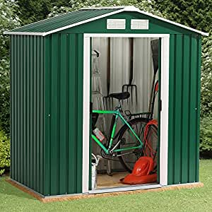 NEW TRUESHOPPING METAL GREEN GARDEN WORKSHOP WAREHOUSE STORAGE APEX SHED 4&39; X 6&39; FT WITH FREE METAL FOUNDATION