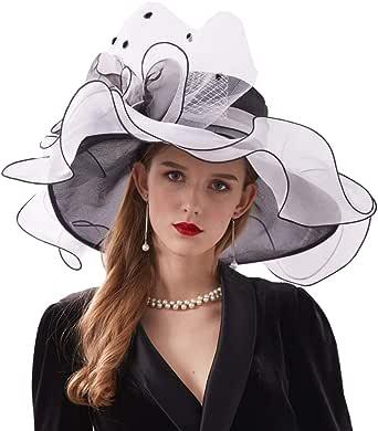 Go Mai Women Kentucky Derby Hat Organza Hats Two Wear Ways,Hat Flower Can Be Used As a Headwear