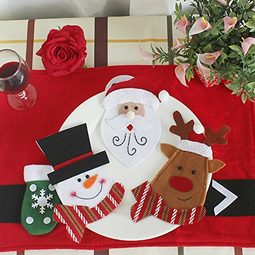(3Pcs Christmas Tableware Bags Xmas Dining Room Cartoon Decoration Ornaments Knives Forks Storage Case Party Table Setting Santa Claus Snowman Deer )