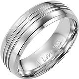 Willis Judd Mens Polished Titanium Ring Engraved I Love You