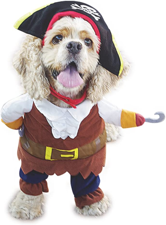 Mikayoo Pet Costume Fashion Pirates of The Caribbean Style Clothes Halloween Suit with a Hat Costume Apparel for Dog & Cat