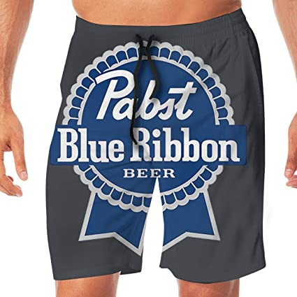 c04da4b979 Image Unavailable. Image not available for. Color: HQFMEVVU Beers Logos  Pabst Blue Ribbon Funny Swim Trunks Quick Dry Summer Surf Beach Board Shorts