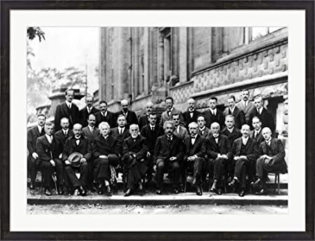 1927 Solvay Conference on Quantum Mechanics Framed Art Print Wall Picture, Espresso Brown Frame, 41 x 31 inches
