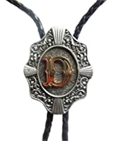 RIDE AWAY Initial Letter Bolo Tie Western Style Cowboy Antique Silver A to Z Gold Letter