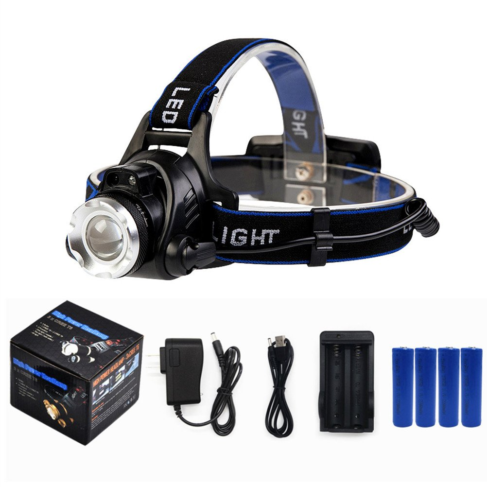 BenRan Headlamp Super Bright Automatic Sensor Switch Light CREE T6 Adjustable Focus Zoom Lights Lamp,Headlight Bicycle LED Flashlight,4 Modes,Rechargeable (Black Include 4 Battery)
