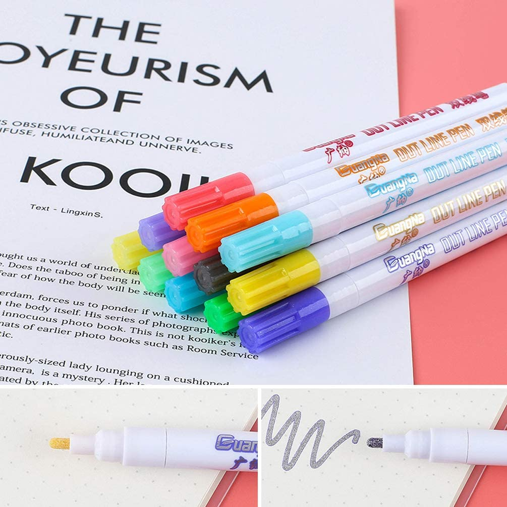 12 Dream Colors Self-out Wuchen Water-Based Color Ink Double Line Outline Pen
