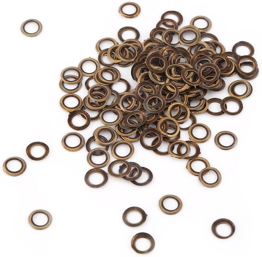 6mm GOTOTOP 100 Sets Oeillets Ronds Couleur Bronze Antique en M/étal 4//5//6mm pour DIY Scrapbooking Sac Couture