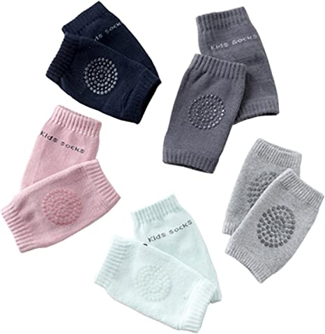 Multiple colors Unisex Baby Toddlers Cotton Kneepads 5 Pairs or 1 Pair Baby Crawling Anti-Slip Knee Pads