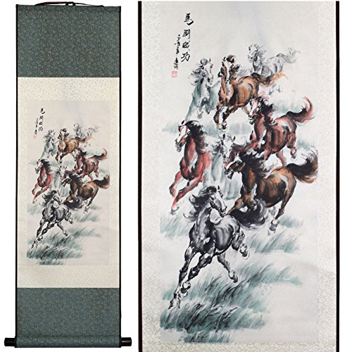 SweetHome Asian Silk Scroll & Picture Scroll & Wall Scroll Calligraphy Hanging Artwork (Great Horses Meaning Of Immediate Success)