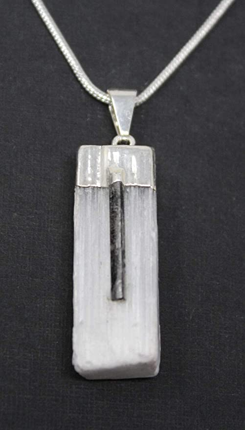 Amazon charged selenite pendant with tourmaline sliver crystal charged selenite pendant with tourmaline sliver crystal 18quot aloadofball Gallery