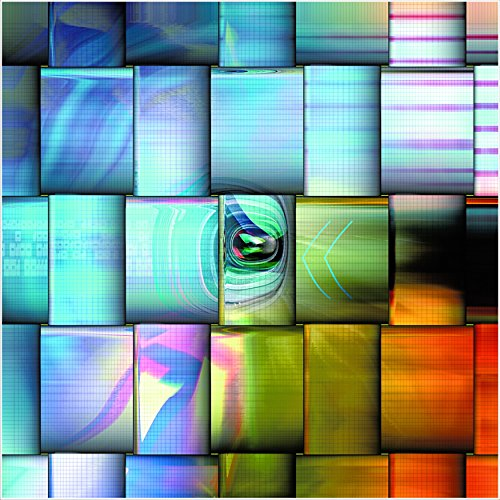 Pixel Motion T, colorful abstract tempered glass - modern wall art