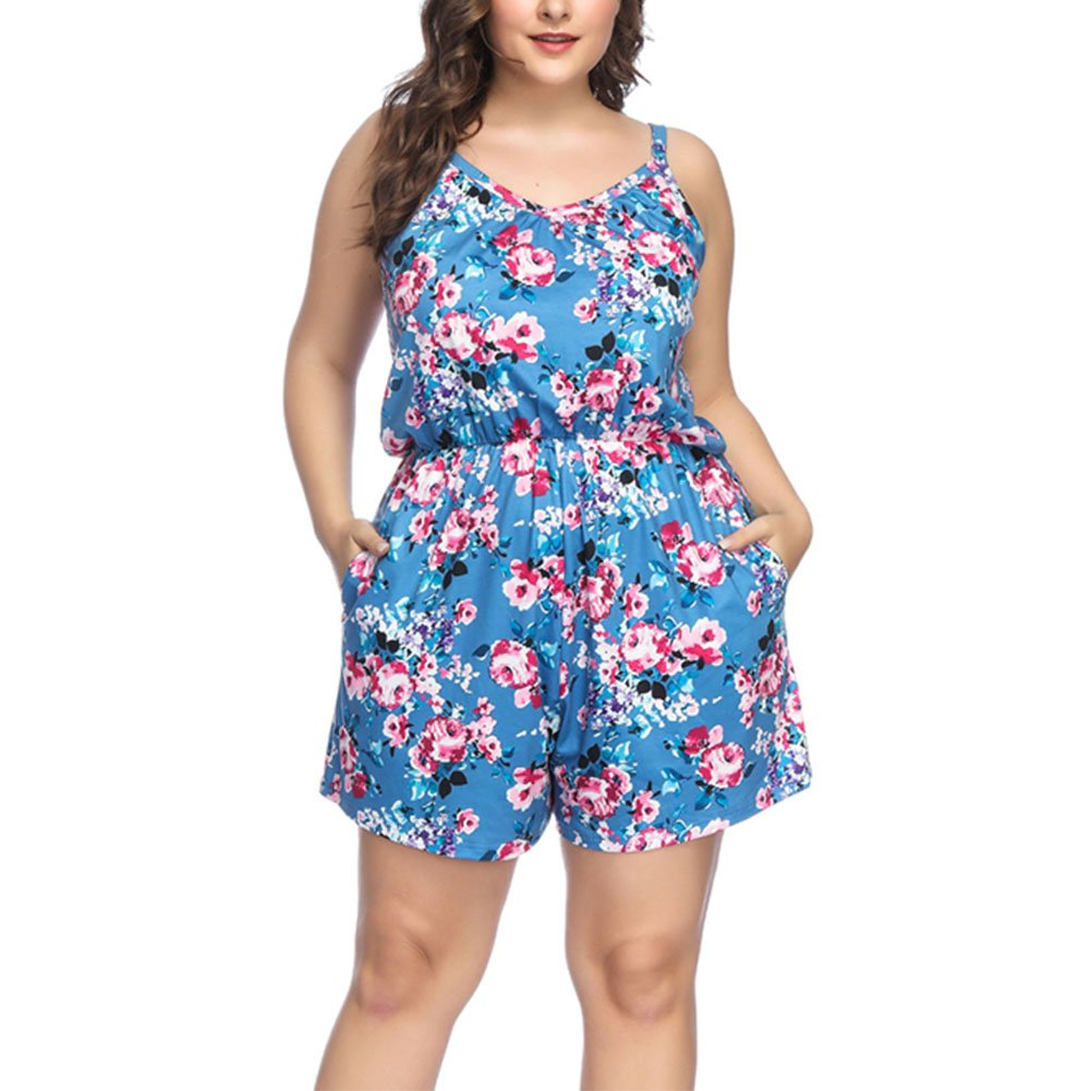 c7a76ca69a6f Amazon.com  YUMDO Women s Plus Size Floral Print Jumpsuit Sleeveless ...