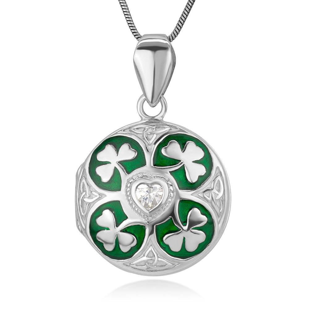 Sterling Silver Green Lucky Shamrock Leaves CZ Heart Trinity Celtic Knot Locket Necklace 18''