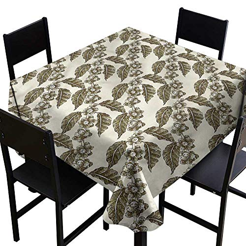 crabee Thanksgiving Tablecloth Nature,Grape Vineyard with Flowers,W50 x L50 Square Tablecloth