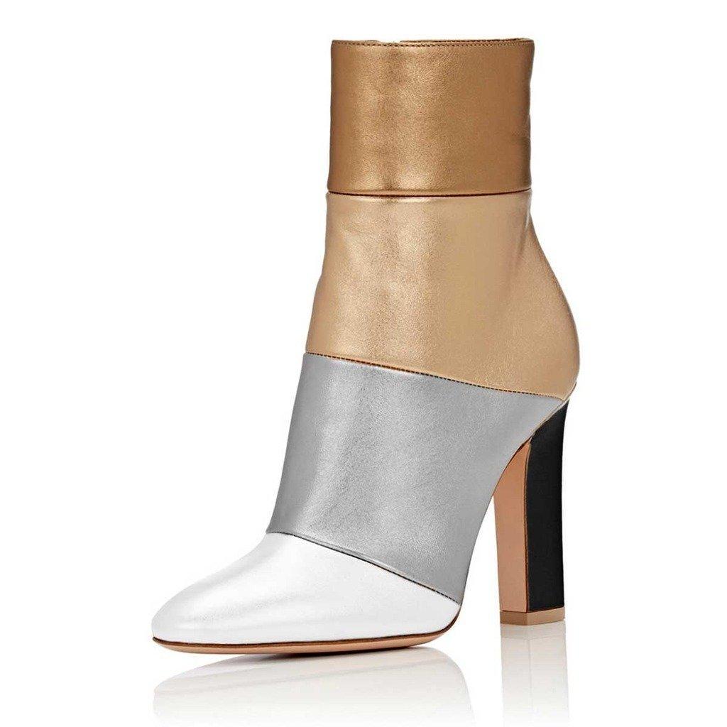 FSJ Women Retro Chunky High Heel Ankle Boots Pointed Toe Booties with Side Zipper Size 4-15 US B074QJ2J6P 4 B(M) US|Multicolored Matt