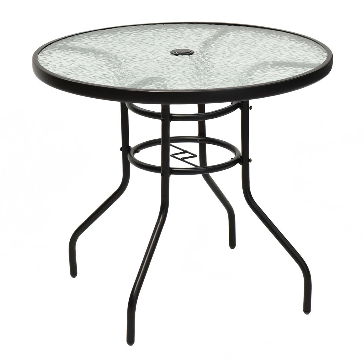 TANGKULA 31.5'' Outdoor Patio Table Round Steel Frame Tempered Glass Top Commercial Party Event Furniture Conversation Coffee Table for Backyard Lawn Balcony Pool with Umbrella Hole