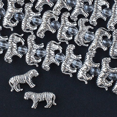 Cherry Blossom Beads Silver Pewter Tiger Beads 11x19mm - 8 Inch Strand