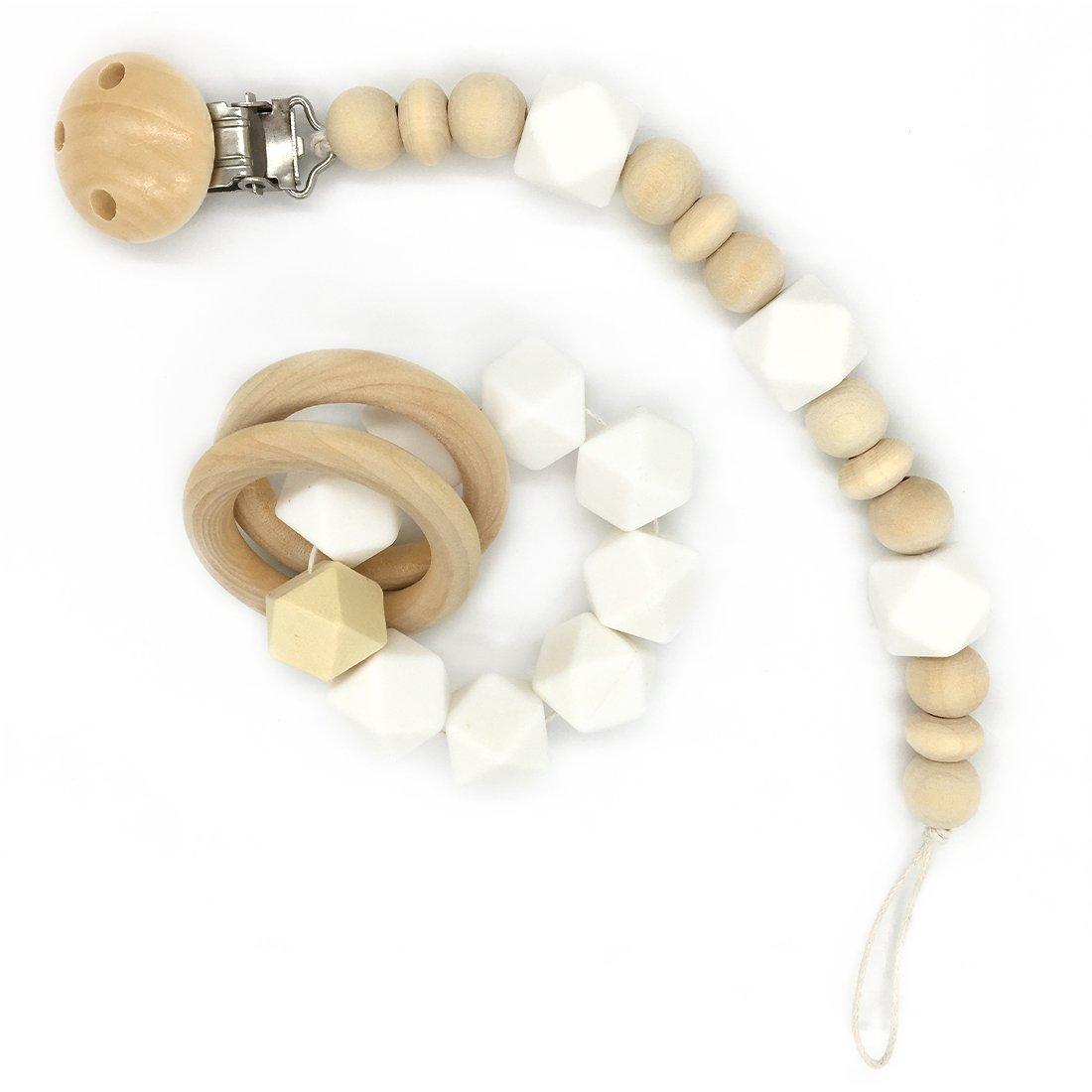 Turquesa Coskiss Madera beb/é Mordedor anillo de madera Chupete clip Org/ánica de madera Montessori juguete de silicona Perlas de mordedores para beb/és Mordedor libre de BPA