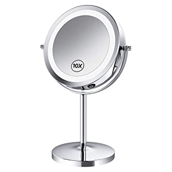 Benbilry Led Lighted Makeup Mirror 7 Inch 1x 10x Magnifying Vanity Mirror With Light Double Sided Magnified Light Up Mirror Battery Operated 10x Dimmable Mirror Beauty