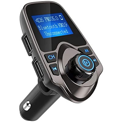Nulaxy Bluetooth Car FM Transmitter Audio Adapter Receiver Wireless Handsfree Voltmeter Car Kit TF Card AUX USB 1.44 Display - KM19 Coffee