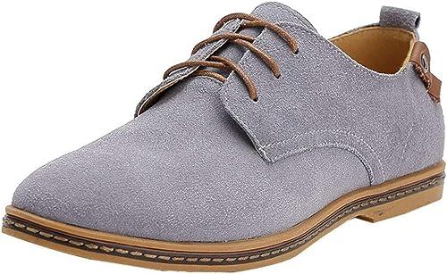 Fangsto - Zapatos Oxfords clásicos de piel de ante para hombre, planos con cordones, color Multicolor, talla 41