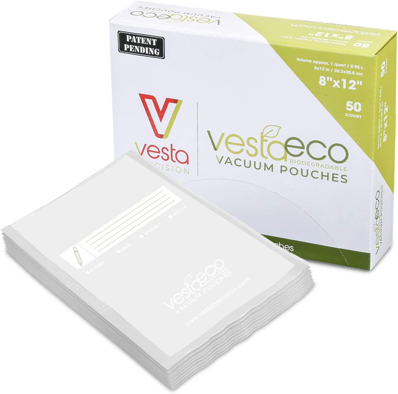 VestaEco Biodegradable Chamber Machine Vacuum Pouches | 50 count | OK Compost | Certificates acquired | Patent Pending | Great for food vac storage or sous vide | sustainable environment saver | (8x12)