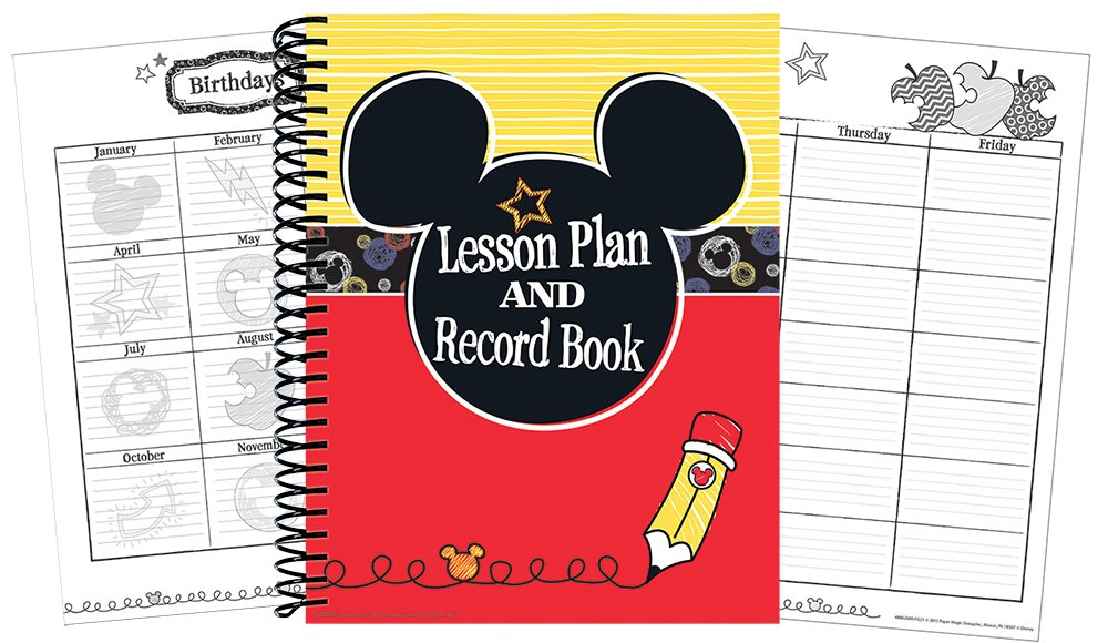 Eureka Mickey Color Pop! Back to School Classroom Supplies Record and Lesson Plan Book for Teachers, 8.5'' x 11'', 40 Weeks