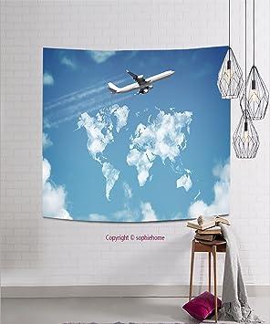 ab6f03dc4a sophiehome tapestries270471749 pasajero avión volando sobre cielo con nubes  en forma de Mapa del mundo concepto para viajes y vacaciones tapiz  pensamiento ...