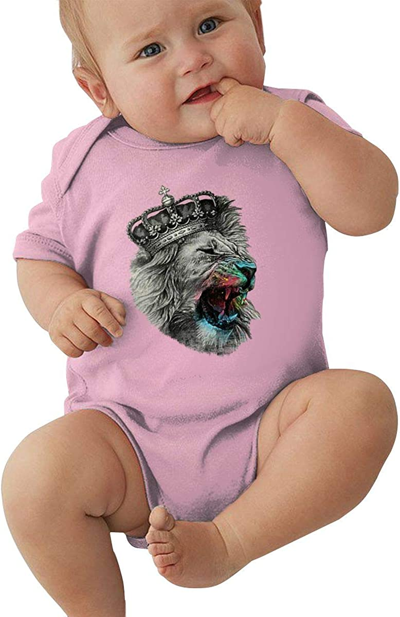 FOECBIR Cool Lion Crown Baby Girl Boy Jersey Bodysuit Short-Sleeve Romper