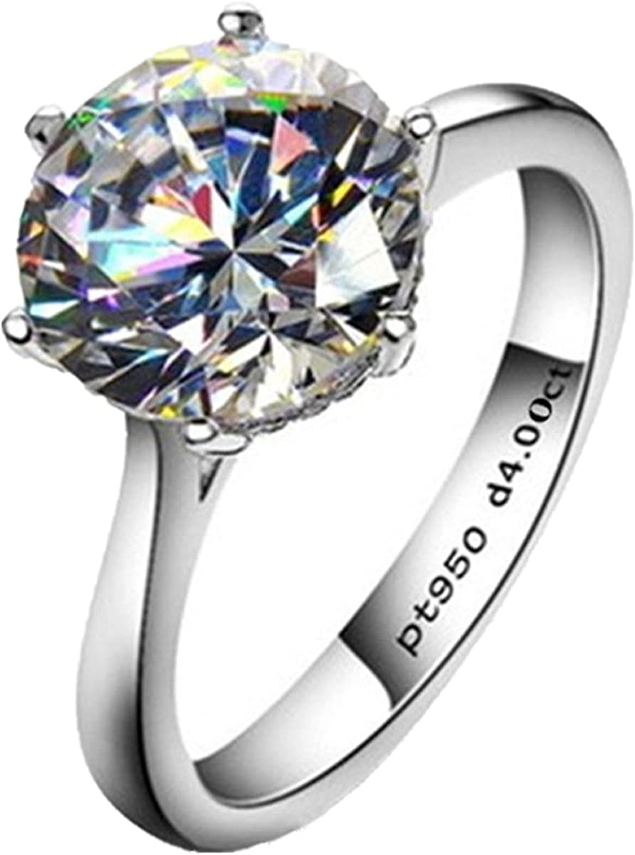AINUOSHI 4ct Round Brilliant Nscd Sona Simulated Diamond Solitaire Wedding Engagement Ring - Finger Size 4-10