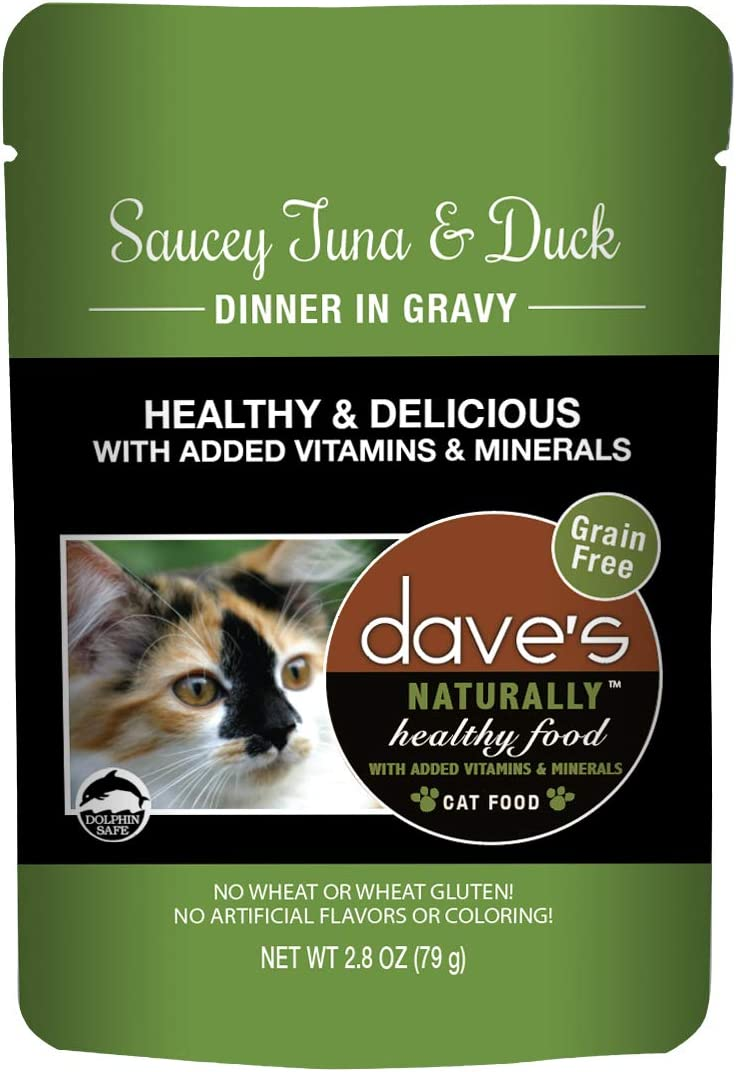 Dave's Naturally Healthy Wet Cat Food Pouches - 2.8 Ounce Pouches, 24 Count - Made in the USA