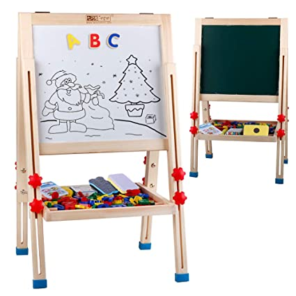 Kids Drawing Board Children Standing Art Easel Adjustable Magnetic Dry Erase Boards Chalkboard Toddler Preschool Learning Wooden Easels With